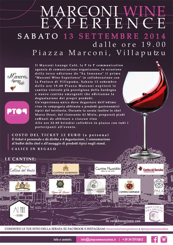 """Locandina della manifestazione """"Marconi Wine Experience"""""""