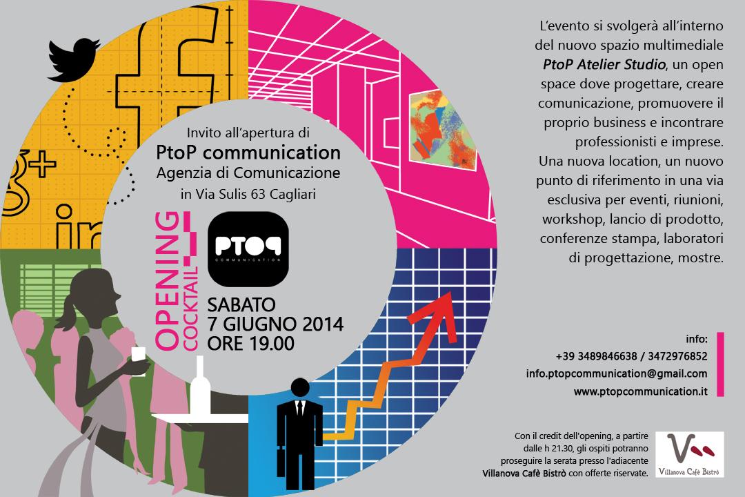 """Invito per l'inaugurazione della """"P to P communication"""" (CA)"""
